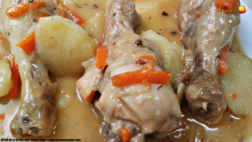 Muslitos de pollo estofados en escabeche